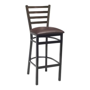 Walnut Steel Ladderback Restaurant Bar Stool with Upholstered Seat (front)