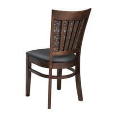 Fully Upholstered European Beechwood Commercial Chair in Walnut With Nailhead Trim