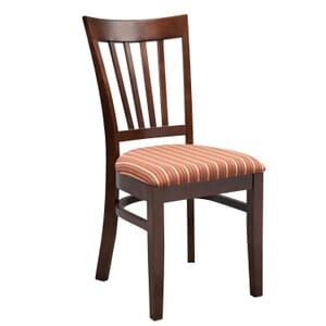 European Beechwood Commercial Side Chair With Wood Back And Upholstered Seat in Walnut (Front)