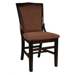 Fully Upholstered Solid Wood Schoolhouse Dining Chair in Walnut