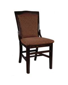 Wood Commercial Side Chair with Upholstered Seat and Back in Walnut (side)